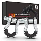 FieryRed 3/4' D Ring Shackle (2 Pack) 22,046Ibs Break Strength with 7/8' Locking Pin and Silver Isolator & Washer Kits for use With Tow Strap, Winch & Bubba Rope