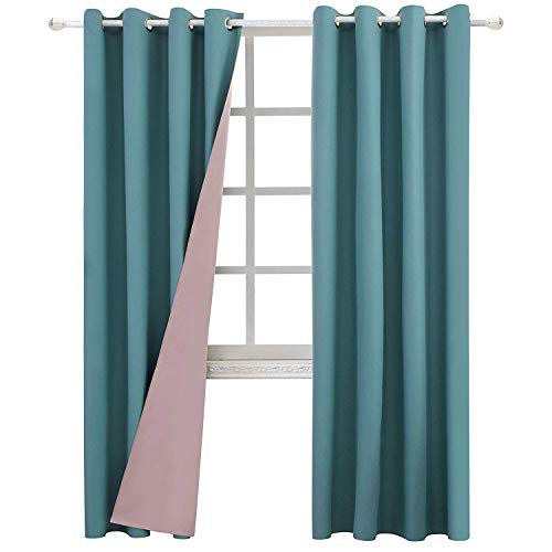 JC JACK&CATHERINE Reversible 100% Blackout Curtains Bicolor Thermal Insulated Curtain for Living-Room, 52 x 84 inch, Teal and Pink, Set of 2 Panels
