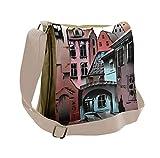 Lunarable Medieval Messenger Bag, Historical European Town, Unisex Cross-body