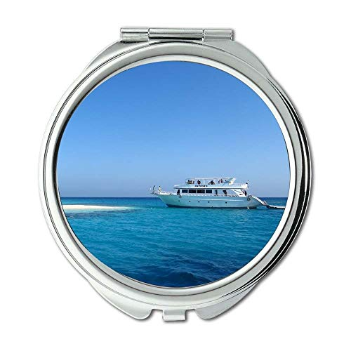 Mirror,makeup mirror,beach blue boat,Pocket Mirror,portable mirror (Gloucester Mini)