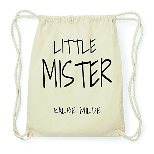 JOllify KALBE MILDE Hipster Turnbeutel Tasche Rucksack aus Baumwolle - Farbe: natur Design: Little Mister