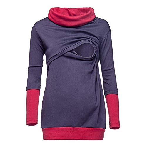 Franterd Women Maternity Blouse Mom Colorblock Winter Pregnant Nursing Wrap Top Breastfeeding Double Layer Cap Sweatshirt Shirt ()