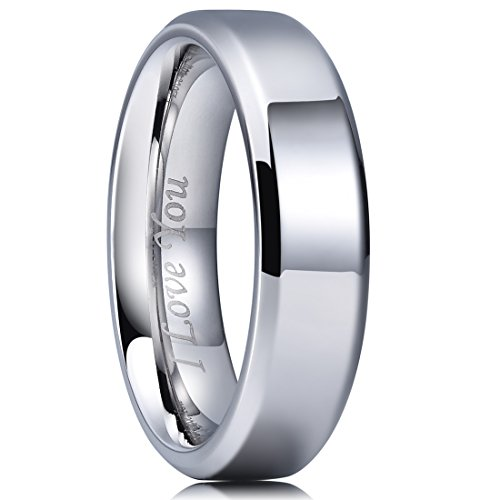 King Will Basic 6mm Stainless Steel Ring Polished Plain Beveled Edge Wedding Band Laser Etched I Love You 6 by King Will