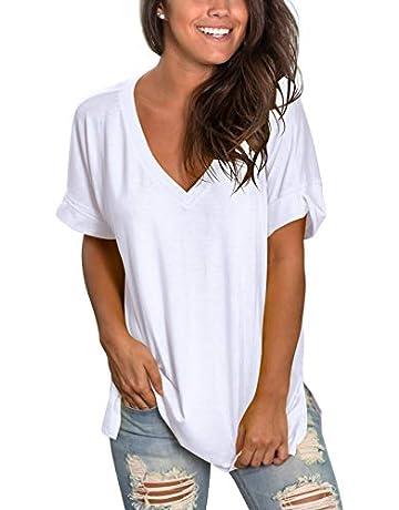 b594e915fa73d SAMPEEL Women's V Neck T Shirt High Low Side Split Tunic Tops