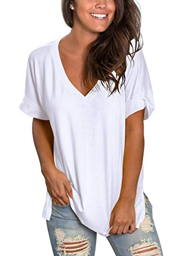 Womens Plus Size Tops Short Sleeve V Neck T Shirts Loose Fit Summer White XXL