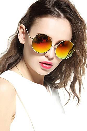 GEELOOK Oversized Round Circle Mirrored Hippie Hipster Sunglasses - Metal ()