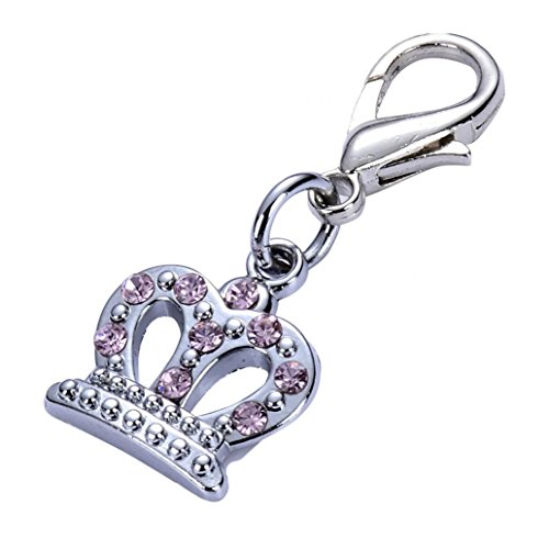 ZX101 Fashion Alloy Rhinestone Crown Pendant Pet Dog Collar Necklace Charm Jewelry Decorated Anti Lost Dog ID Tags (Pink) (Rhinestone Collar Dog Charm)