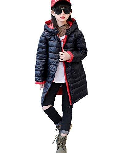 Menschwear Girl's Down Jacket Hooded Winter Warm Outwear Thicker Down Jacket (120,Black) by Menschwear