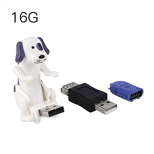 hongfei Mini Cute USB Flash Drive with 16G U-Disk Memory,Novelty Creative Dog Modeling Gadget with OTG Connector for Laptop Computer