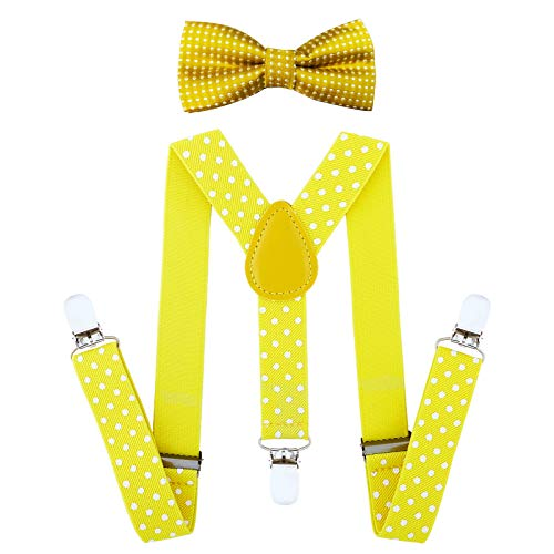 Child Kids Suspenders Bowtie Set - Adjustable Suspender Set for Boys and Girls(25Inches (5 Months to 6 Years),Yellow Polka dot)
