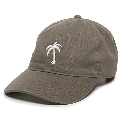 - Palm Tree Embroidered Dad Hat - Adjustable Polo Style Baseball Cap - Relaxed Fit Olive