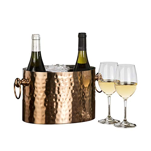 Chic Chill Handcrafted Artisan 2 bottle Champagne and Wine Chiller (Copper) (Personalized Wine Bucket Chiller)