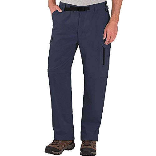 BC Clothing Mens Convertible Lightweight Comfort Stretch Cargo Pants or Shorts (Slate, XXL x 30)