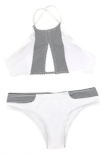 Cupshe Fashion Women's Stripe Splicing Front Cutout Padding Bikini Bathing Suit (L, White)