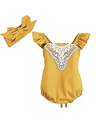 Baby Girls Romper Sunsuit Jumpsuit with Headband