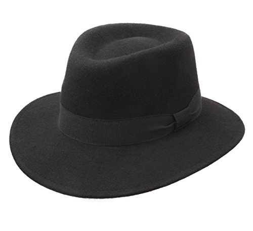 26aae581aed Modissima Nevin Wool Felt Fedora Hat Size 59 cm Black