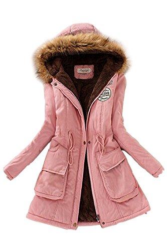 TOOGOO (R)Mujer Abrigo largo de acolchado grueso de invierno de piel encapuchado Ropa exterior Chaqueta -Rosa-L