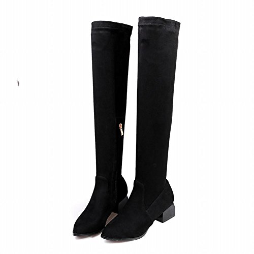 Sexy On Knee Womens Pull Boots Zip Chic Pointed Carolbar Black The Over Toe RxX0pOwq