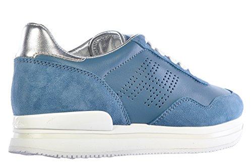 Hogan Vrouwen Schoenen Sneakers Damesschoenen Van Leer Tennisschoenen H222 H Forata Blu