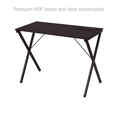 Modern Computer Laptop Desk Space Saving Design Solid Powder Coated Steel Frame Durable Workstation Home Office Furniture - W/ Tablet Holder - Double Png Frame