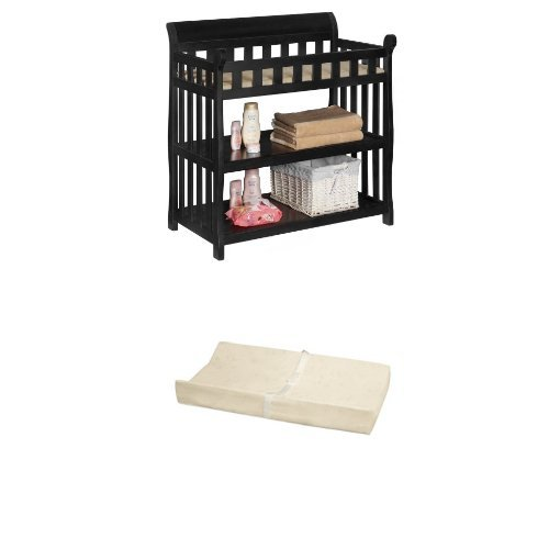 Delta Children Eclipse Changing Table, Black and Simmons Kids Beautysleep Naturally Contour Pad