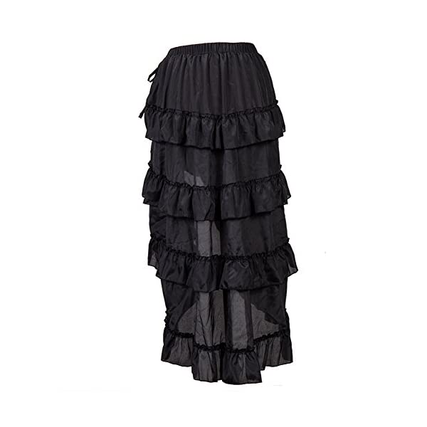 Alex sweet Adjustable Ruffle High Low Gothic Skirt Plus Size Steampunk Corset Skirt Long Dress 5