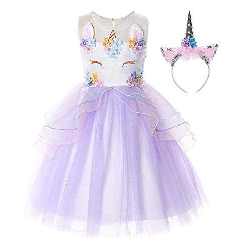 (Flower Girls Unicorn Costume Pageant Princess Party Dress(Purple 5)