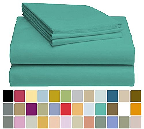 LuxClub Bamboo Sheet Set - Bamboo - Eco Friendly, Wrinkle Free, Hypoallergenic, Antibacterial, Moisture Wicking, Fade Resistant, Silky, Stronger & Softer than Cotton - Teal - (Cotton Bamboo Sheets)