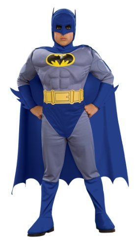 Costumes For Superhero Kids (Rubie's 883418S Batman Deluxe Muscle Chest Batman Child's Costume, Small, Blue  (Discontinued by)
