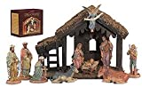 10-Pc Nativity Set with Wood Stable Polymer/Wood