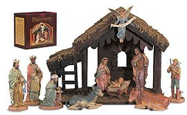 10-Pc Nativity Set with Wood Stable Polymer/Wood by US Gifts