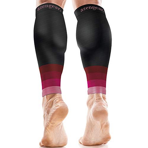 aZengear Calf Sleeves for Men & Women (20-30 mmHg) - Calf Support - Compression Calf Guards - Leg Sleeves - Shin Splints Brace (Pair) - Pink, XXL