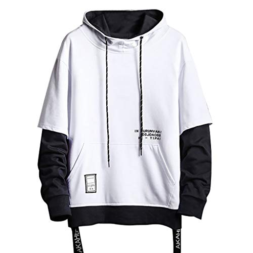 Vickyleb Men Sweatshirts Mens Hoodies Pullover, Mens Long Sleeve Hooded T-Shirt Slim Fit Hoodie Shirt White