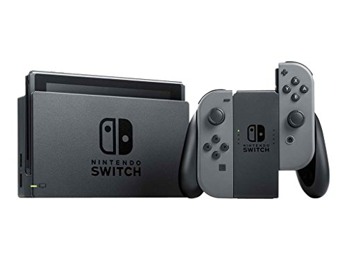 Nintendo Switch Bundle (7 items):Nintendo Switch 32GB Console Gray Joy-con,128GB Micro SD Memory Card,HDMI Cable,USB C Adapter,Screen Protector,Console Case - Red and Mario Odyssey Game Disc by Nintendo (Image #1)