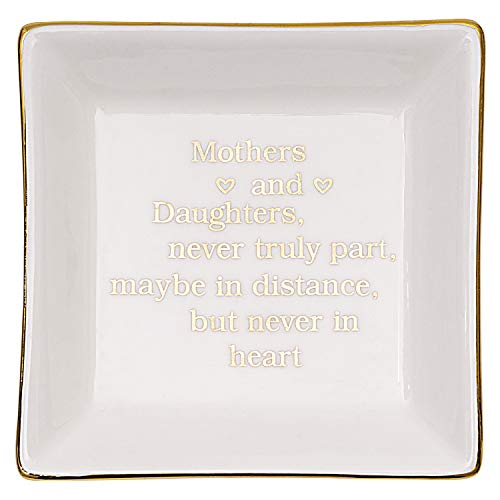 Hlonon Gift for Mom from Daughter, Ring Dish Jewelry Tray Trinket Dish Plate with Gold Letters, Birthday Gifts for Mom