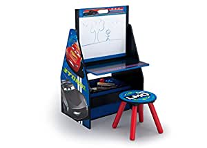 Delta Children Activity Center with Easel Desk, Stool and Toy Organizer, Disney/Pixar Cars