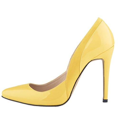Loslandifen Womens Patent Pu Tacco Alto Stile Corsetto Scarpe Corte Compleanno Pompe Giallo