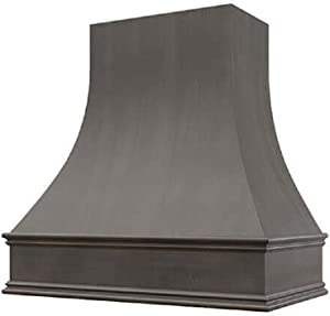 """Wholesale Wood Hoods Curved Style Hood Wooden Chimney Range Wall Mounted for Kitchen with 24"""" Depth - 48""""W × 48""""H - Black"""