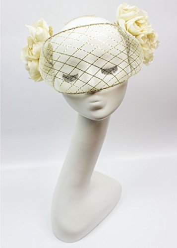 Gold and Ivory Crinoline Wired Veil with Silk Handmade Flowers by Humboldt Haberdashery