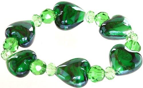 Genuine Italian Murano Glass - Ace Of Diamonds Love Heart Italian Murano Glass Stretch Bracelet (Emerald)