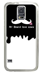 Mr Beard Love Cows PC Transparent Hard Case Cover Skin For Samsung Galaxy S5 I9600