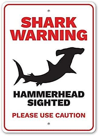 Beach Lover Gift Metal Sign 8 X 12 Hammerhead Sighted YYone Shark Warning Please Use Caution Beach Warning Sign