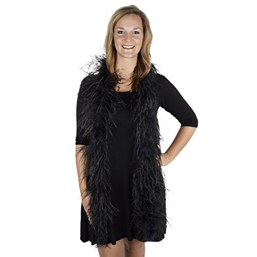 ZUCKER 6' Flapper Ostrich Boa - Black Feather Halloween Cosplay Costume Accessory