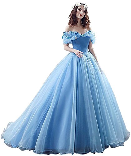 (Yinyyinhs Women's Ball Gown Cinderella's Off The Shoulder Prom Gown Wedding Dresses Evening Gown Size 14)