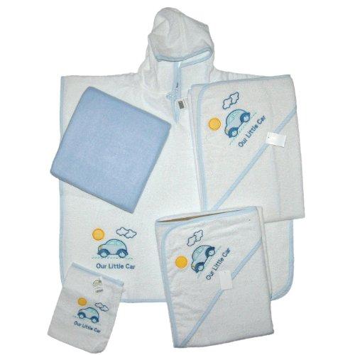Hochwertiges Baby Badeset: Badetuch 100x100cm & 75x75cm, Poncho, Waschhandschuh weiß + Babydecke blau