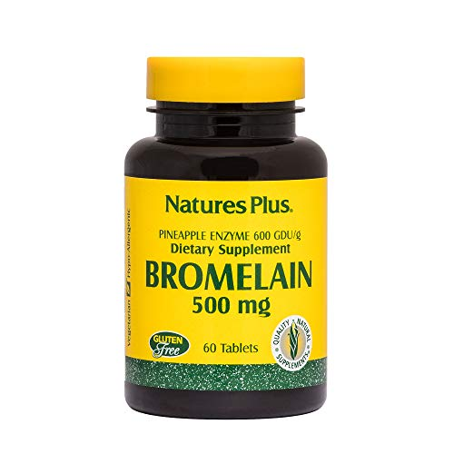 (NaturesPlus Bromelain - 500 mg, 60 Vegetarian Tablets - Natural Proteolytic Enzyme Supplement, Sinus Support, Anti-Inflammatory - Gluten-Free - 60 Servings)