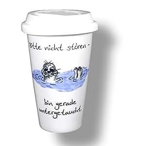 6pieza de porcelana de Coffee to go con tapa–See No molestar de perros, Bin untergetaucht.De Deutsches del diseño de respetuoso con el medio ambiente.