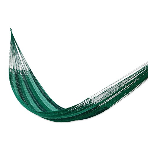 NOVICA Green Striped Nylon 1 Person Mayan Style Rope Hammock 'Caribbean Dream' (single) (Hanging Mayan Hammock)