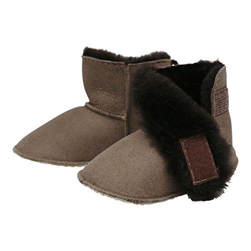 Hollert German Leather Fashion Baby Lammfellschuhe - mit Klettverschluss Kinder Hausschuhe Boots Merino Schaffell Camel