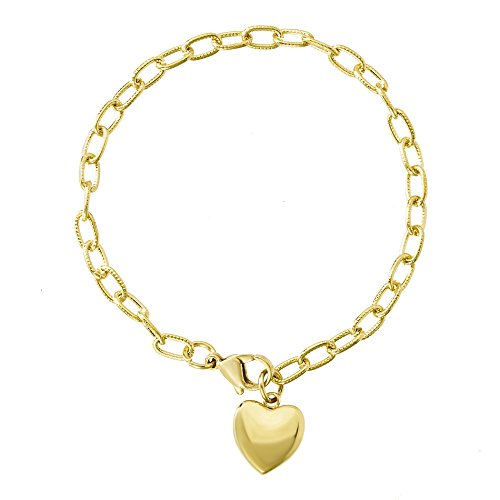 Wide Puffed Heart - LESA MICHELE Stainless Steel Dangling Puffed Heart Charm Cable Chain Bracelet